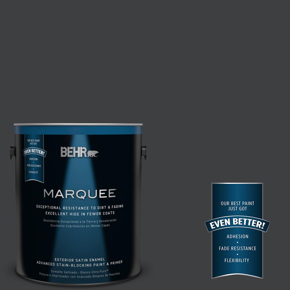 BEHR MARQUEE Home Decorators Collection 1-gal. #HDC-MD-04 Totally Black Satin Enamel Exterior Paint
