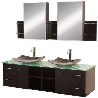 Avara 72 in. Vanity in Espresso with Double Basin Glass Vanity Top in Aqua with Black Basins and Medicine Cabinets