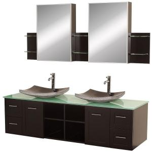 Wyndham Collection Avara 72 inch Vanity in Espresso with Double Basin Glass Vanity Top in Aqua with Black Basins and... by Wyndham Collection
