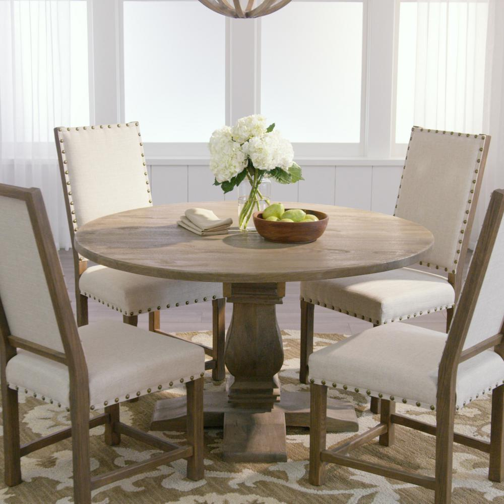 Attractive Home Decorators Collection Aldridge Antique Grey Round Dining Table NB024AG    The Home Depot