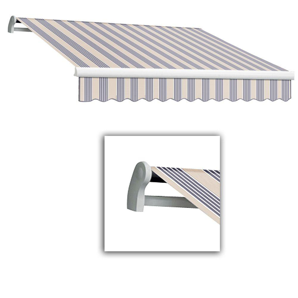 AWNTECH 12 ft. Maui-LX Left Motor Retractable Acrylic Awning with Remote (120 in. Projection) in Dusty Blue Multi