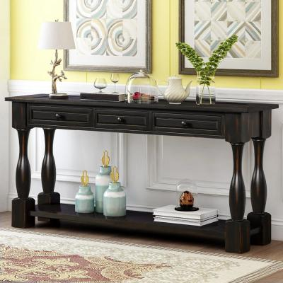 30 in. Mediterranean Black with Drawers and Shelf Console Table