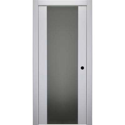 36 in. x 80 in. Smart Pro H3G Polar White Left-Hand Solid Core Wood 1-Lite Frosted Glass Single Prehung Interior Door