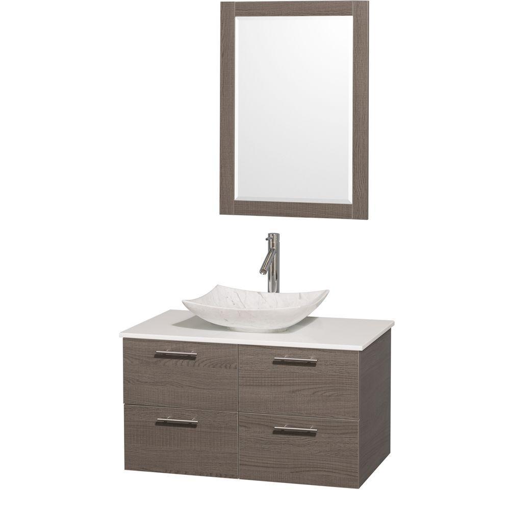 Amare 36 in. Vanity in Gray Oak with Solid-Surface Vanity Top
