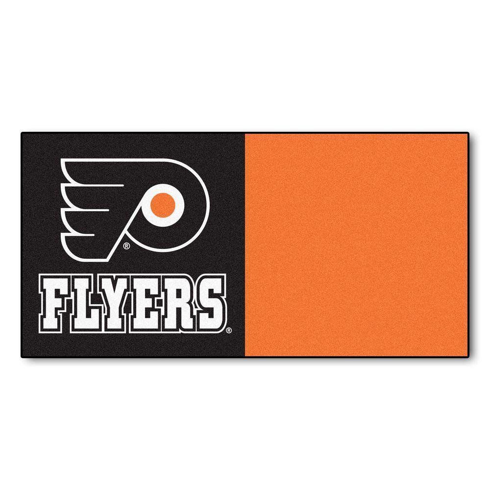 NHL - Philadelphia Flyers Black and Orange Pattern 18 in. x 18 in. Carpet Tile (20 Tiles/Case)