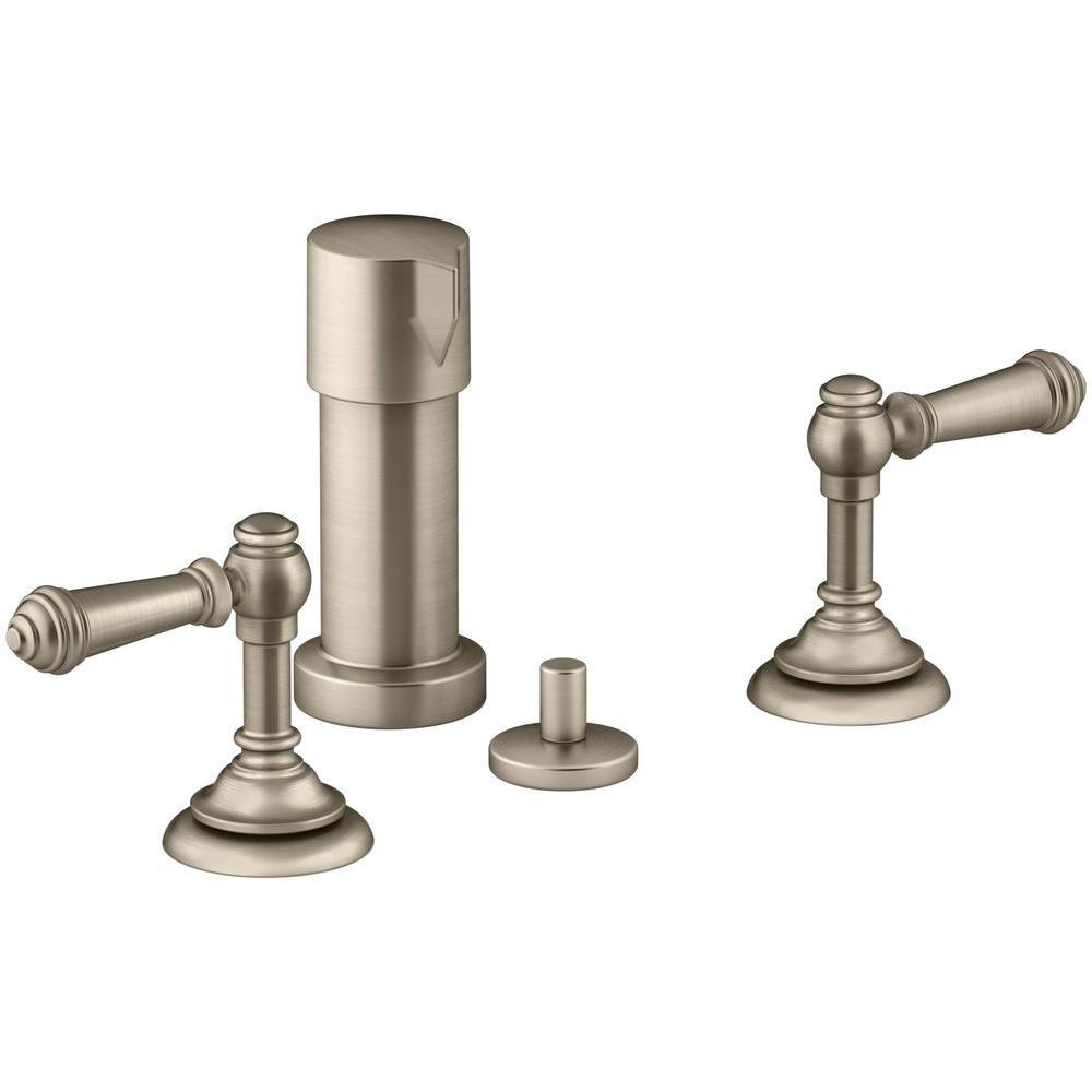 Artifacts Lever 2-Handle Bidet Faucet in Vibrant Brushed Bronze