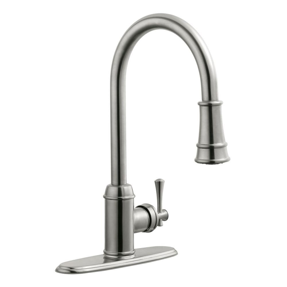 Design House Ironwood Single-Handle Pull-Down Sprayer Kitchen Faucet in  Satin Nickel