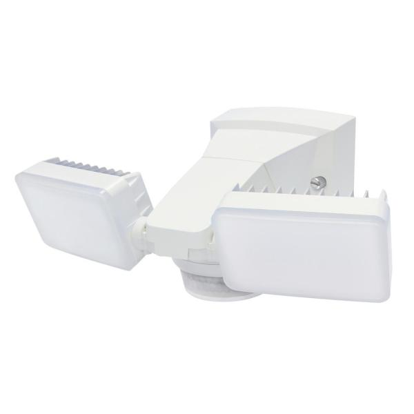 180-Degree White Motion Activated Outdoor Integrated LED Twin Flood Lights with 1500 Lumens.