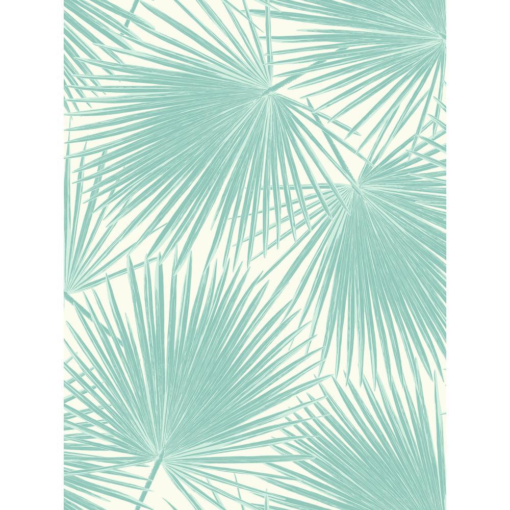 Seabrook Designs Aruba Turquoise and White Palm Leaf Wallpaper TA20202
