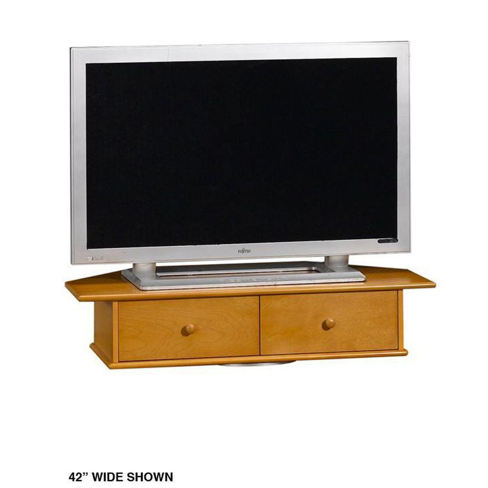 Home Decorators Collection Drayton Oak 20 in. W Audio and Video TV Swivel with Drawer