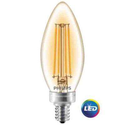 40W Equivalent Soft White Clear Glass Dimmable B11 LED Energy Star Light Bulb with Candelabra Base (3-Pack)