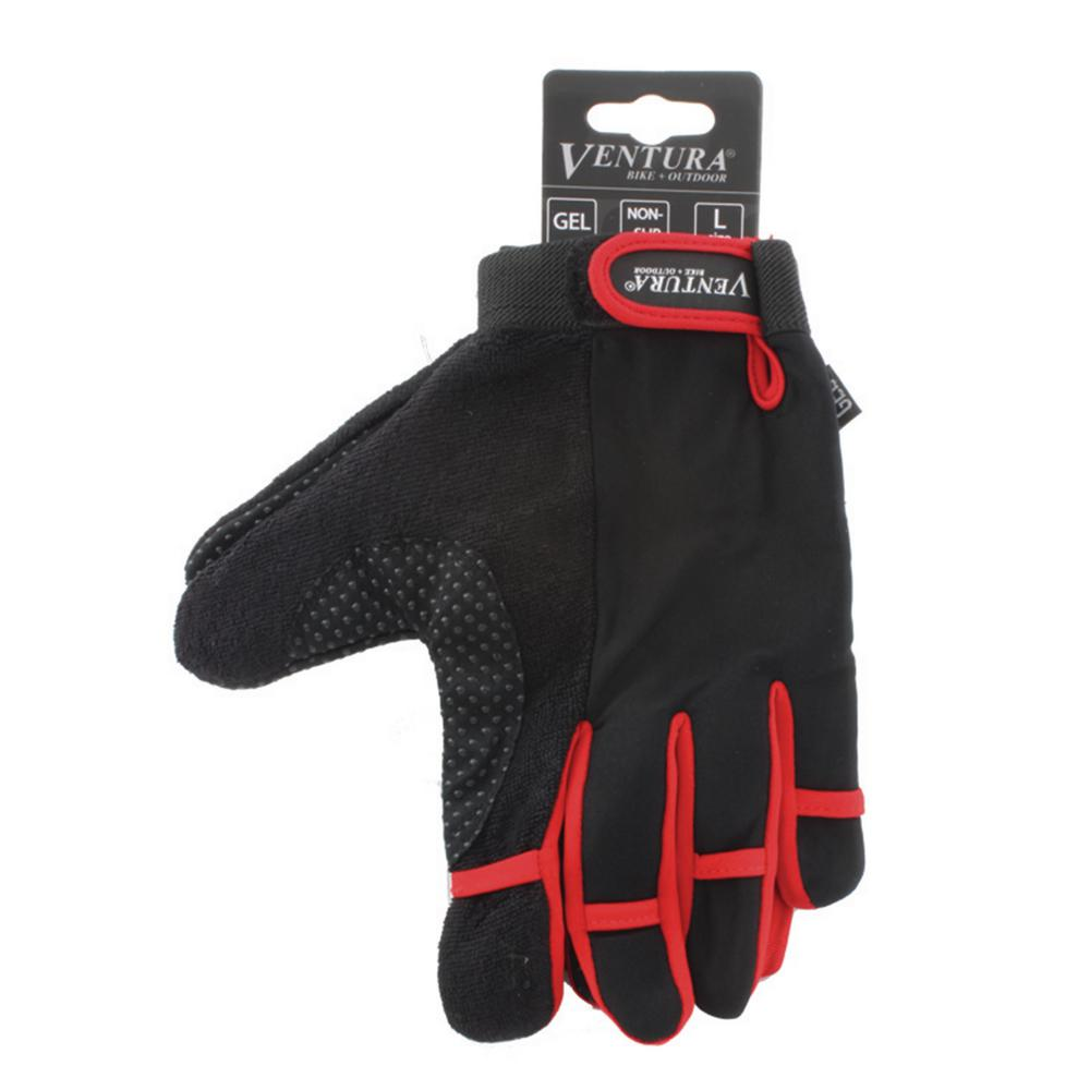 Ventura Medium Red Full Finger Bike Gloves