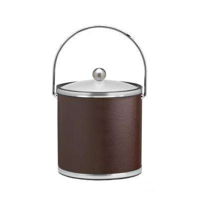 Sophisticates 3 Qt. Brown and Brushed Chrome Ice Bucket with Bale Handle and Acrylic Cover