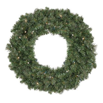 30 in. B/O Pre-Lit LED Canadian Pine Artificial Christmas Wreath - Clear Lights
