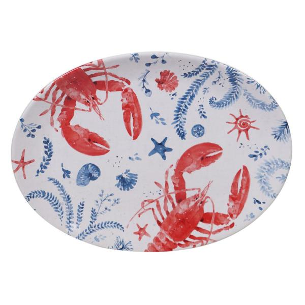 Nautical Life Multi-Colored 16 in. Earthenware Oval Lobster Platter