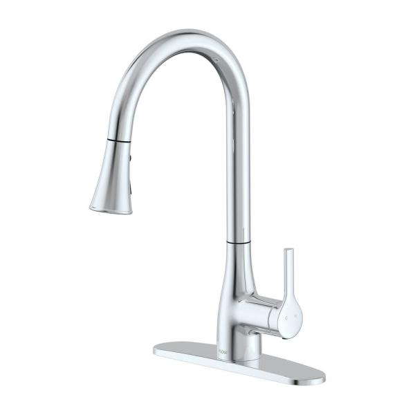 Flow Classic Series Single Handle Standard Kitchen Faucet In Chrome Flowclassic Cp The Home Depot