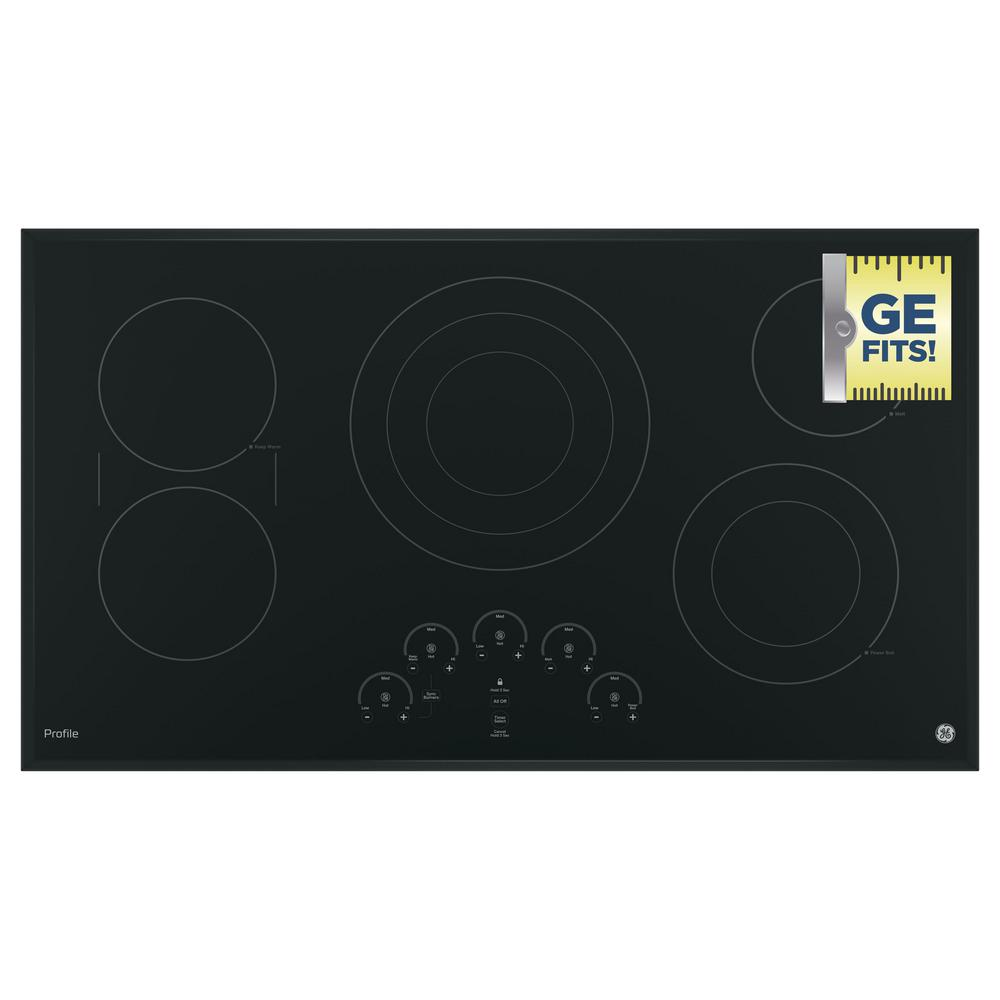 36 in. Radiant Electric Cooktop in Black with 5 Elements including