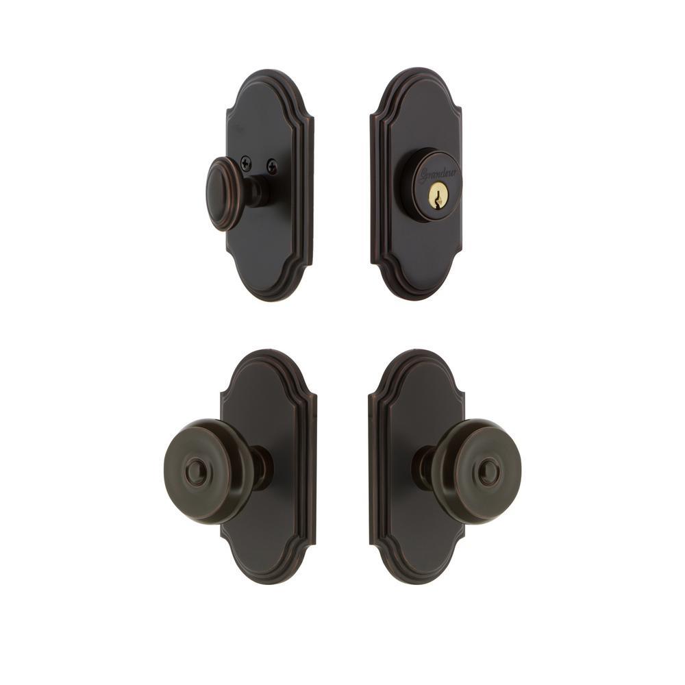 Arc Plate 2-3/4 in. Backset Timeless Bronze Bouton Door Knob with Single Cylinder Deadbolt