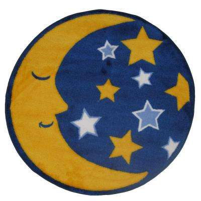 Fun Time Shape Moon & Stars Yellow, Blue and White 31 in. Round Area Rug