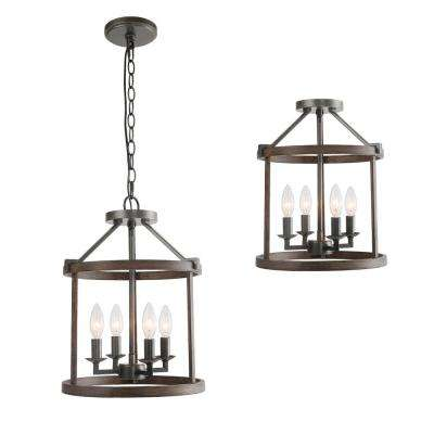 Fairforest 13 in. 4-Light Black Open Cage Rustic Farmhouse Drum Foyer Pendant with Wood Accents Semi-Flush Convertible