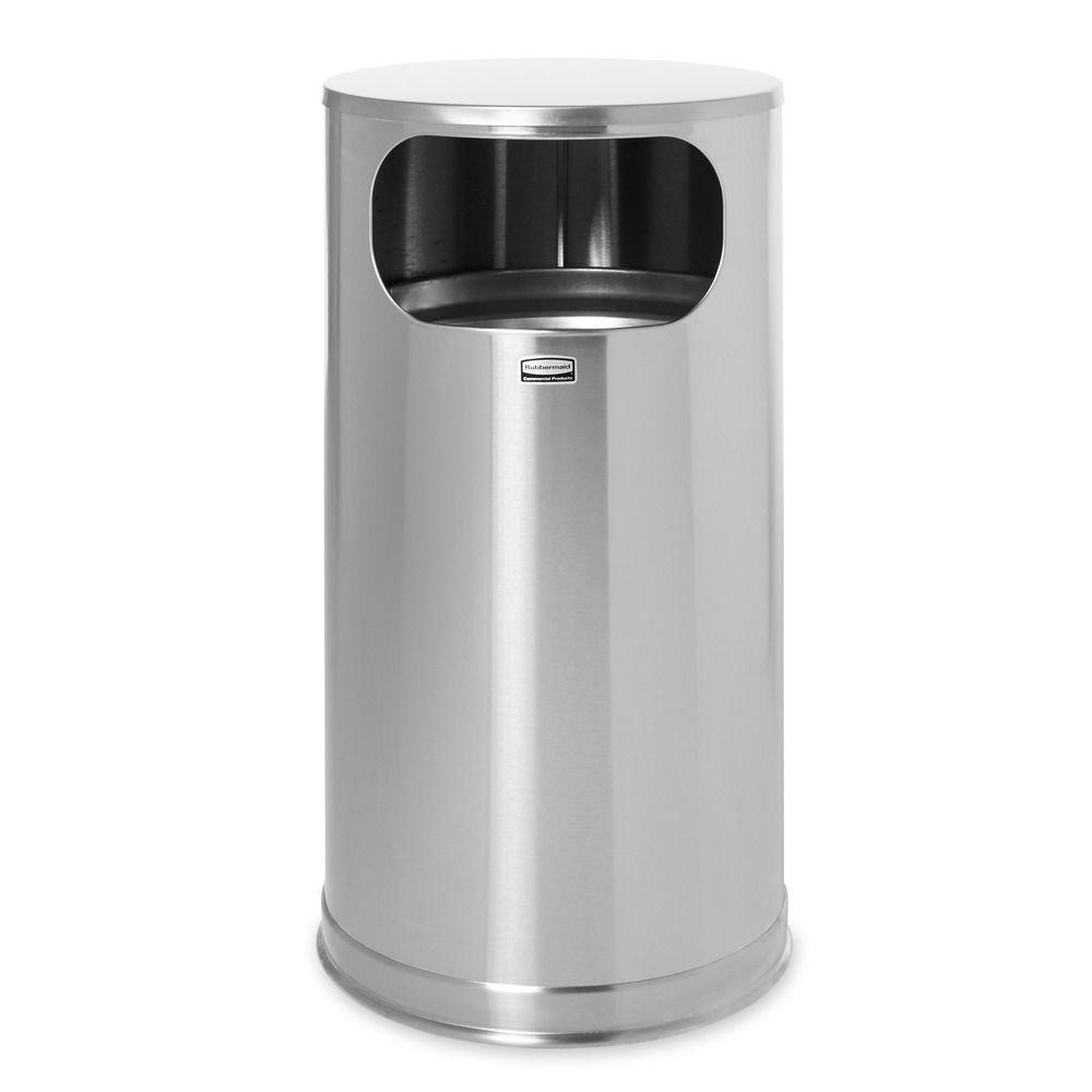 Rubbermaid Commercial Products European 12 Gal Satin Stainless Steel Flat Top Trash Can
