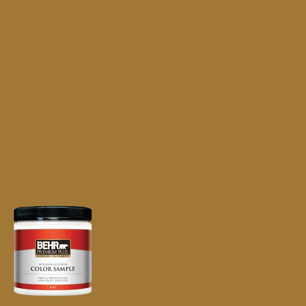 Gold Paint Colors >> Behr Premium Plus 8 Oz 320d 7 Victorian Gold Flat Interior Exterior Paint And Primer In One Sample
