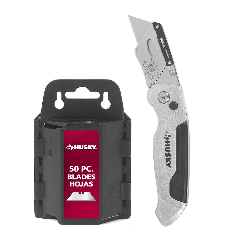 Pro Folding Utility Knife With 50 Blades and Dispenser