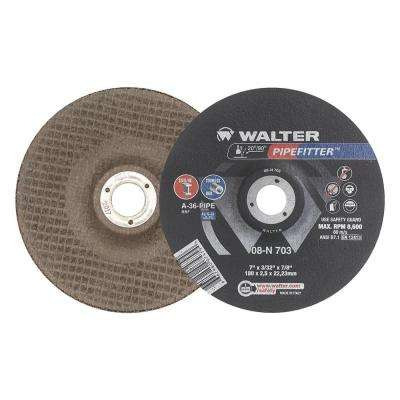 PIPEFITTER 7 in. x 7/8 in. Arbor x 3/32 in. T27 A-36-PIPE Pipeline Grinding Wheels (Pack of 25)