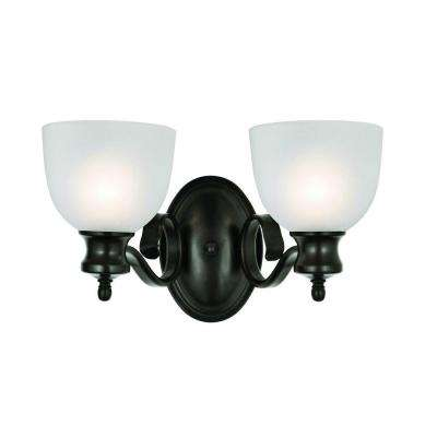 Cabernet Collection 2-Light Oiled Bronze Sconce with White Frosted Shade