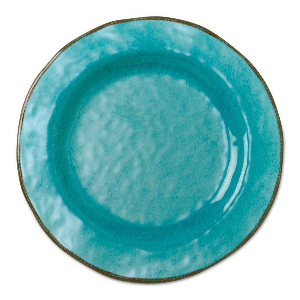 9 in. Melamine Veranda Salad Plates in Ocean Blue (Set of 4)