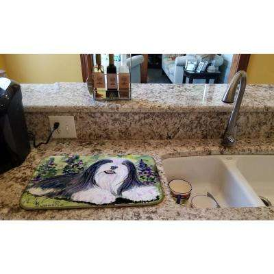 14 in. x 21 in. Multicolor Bearded Collie Dish Drying Mat
