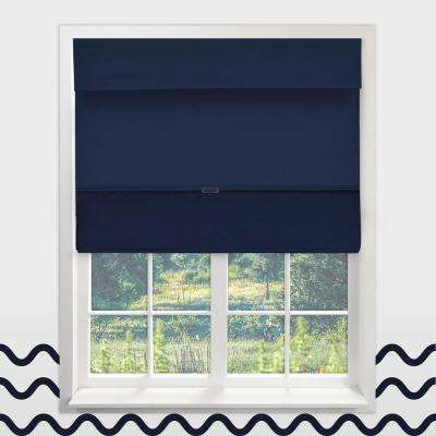 Magnetic Roman Shade Sailor's Navy Polyester Cordless Roman Shade - 36 in. W x 64 in. L