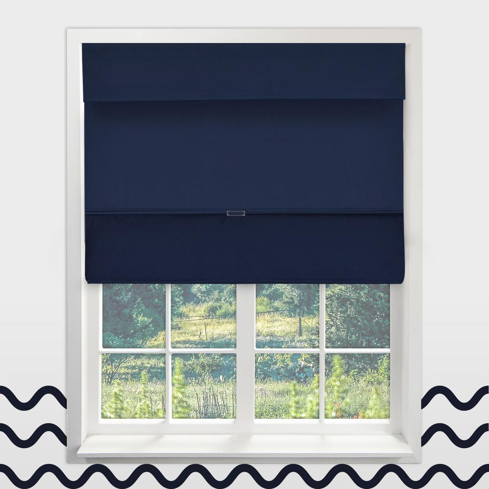 Chicology Sailor S Navy Cordless Blackout Easy To Install Polyester Roman Shades 39 In W X 64 L