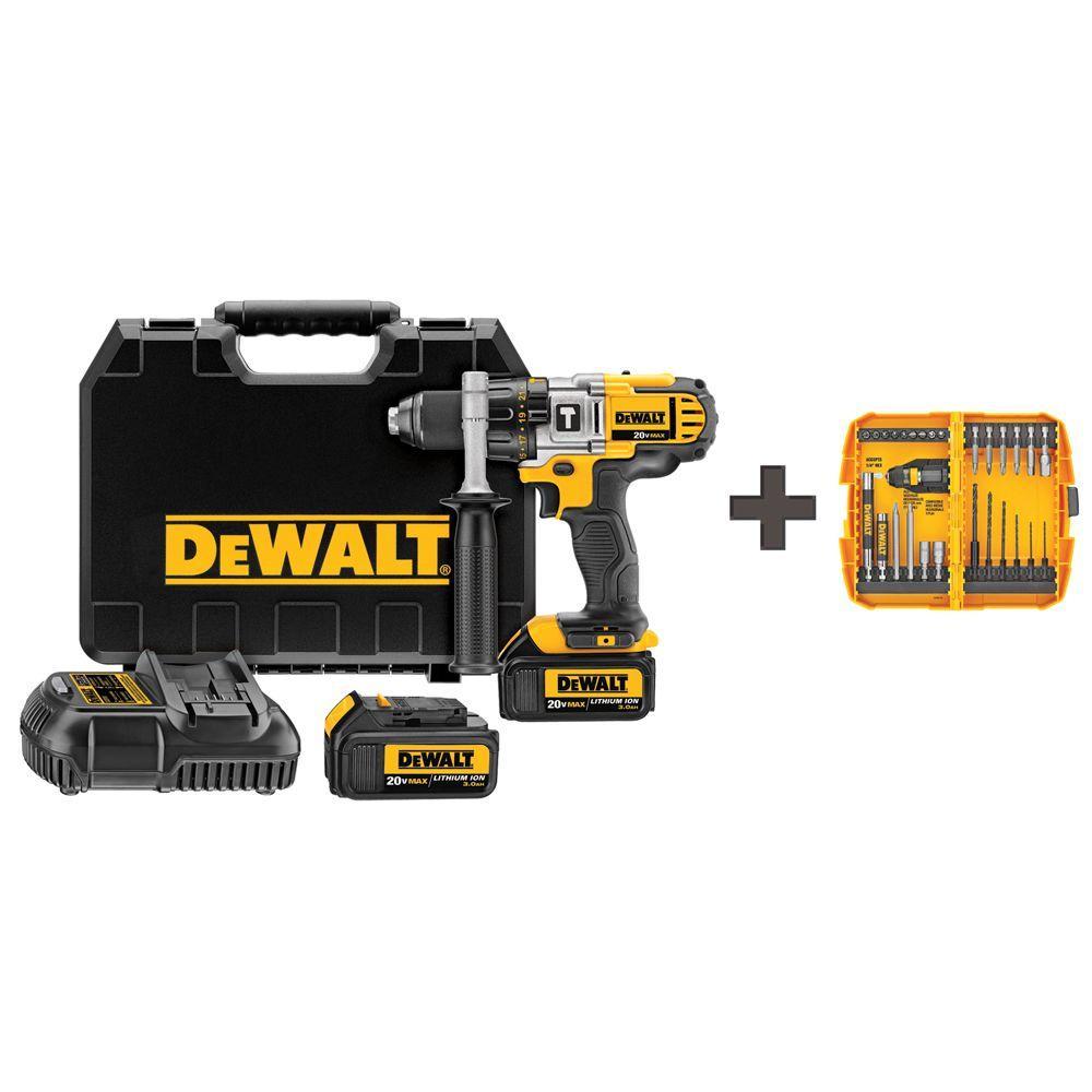DEWALT 20-Volt MAX Lithium-Ion Cordless 1/2 in. Premium Hammer Drill Driver w/ Batteries 3Ah and Bonus 28-Piece Rapid Load Set