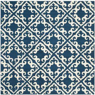 Easy Care Navy/Ivory 6 ft. x 6 ft. Square Area Rug