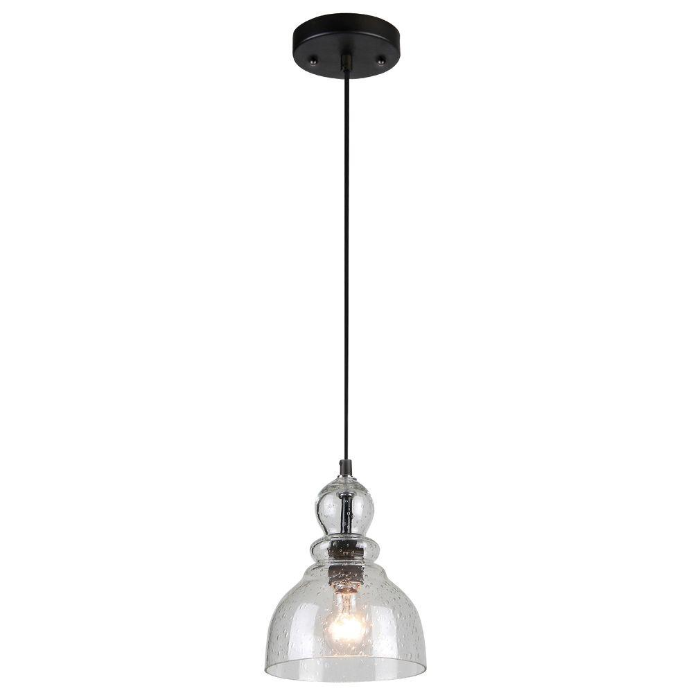 1-Light Oil Rubbed Bronze Adjustable Mini Pendant with Hand-Blown Clear Seeded