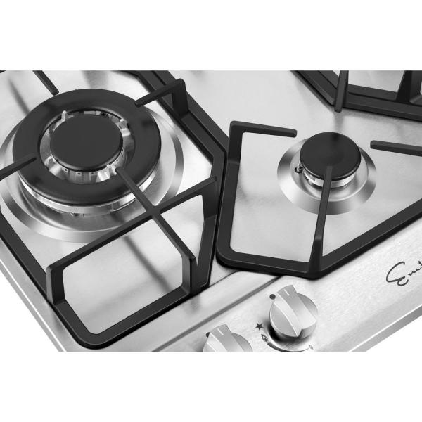 Empava 24 In Gas Stove Cooktop 4 Italy Sabaf Sealed Burners In Stainless Steel Empv 24gc4b67a The Home Depot