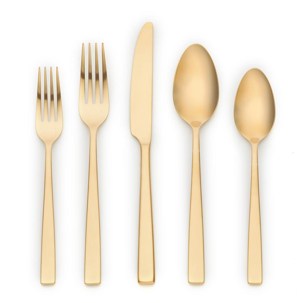 Ornative Tableware Kathryn 20-Piece Gold 18/0 Stainless Steel Flatware Set
