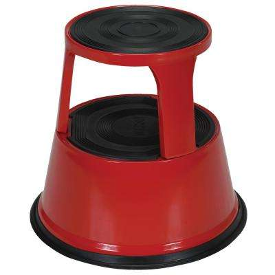 17 in. Red Rolling Step Stool