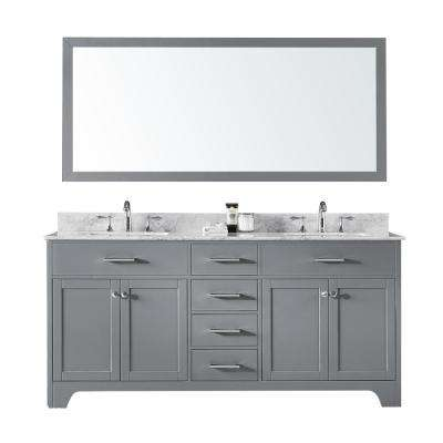 72 in. Double Sink Bathroom Vanity in Taupe Grey with Carrara White Marble Top and Mirror Set
