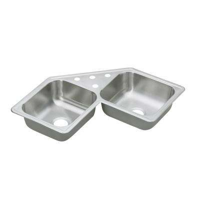 Dayton Elite Drop In Stainless Steel 32 In. 3 Hole Double Bowl Kitchen