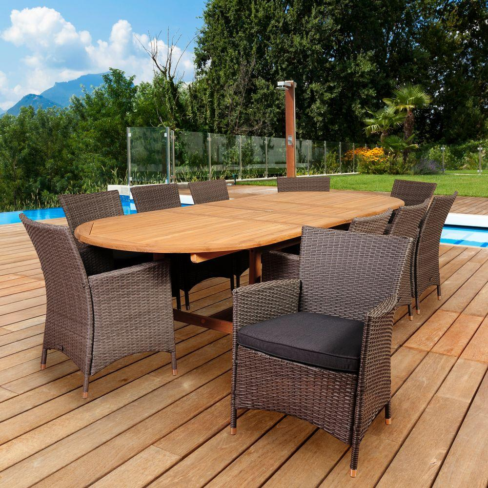 Ia Macbeth 10 Piece Teak Wicker Double Extendable Oval Patio Dining Set With Grey