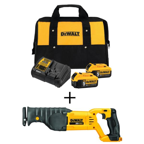 20-Volt MAX Lithium-Ion Cordless Reciprocating Saw with Premium Battery Pack 5.0 Ah (2-Pack), Charger and Kit Bag