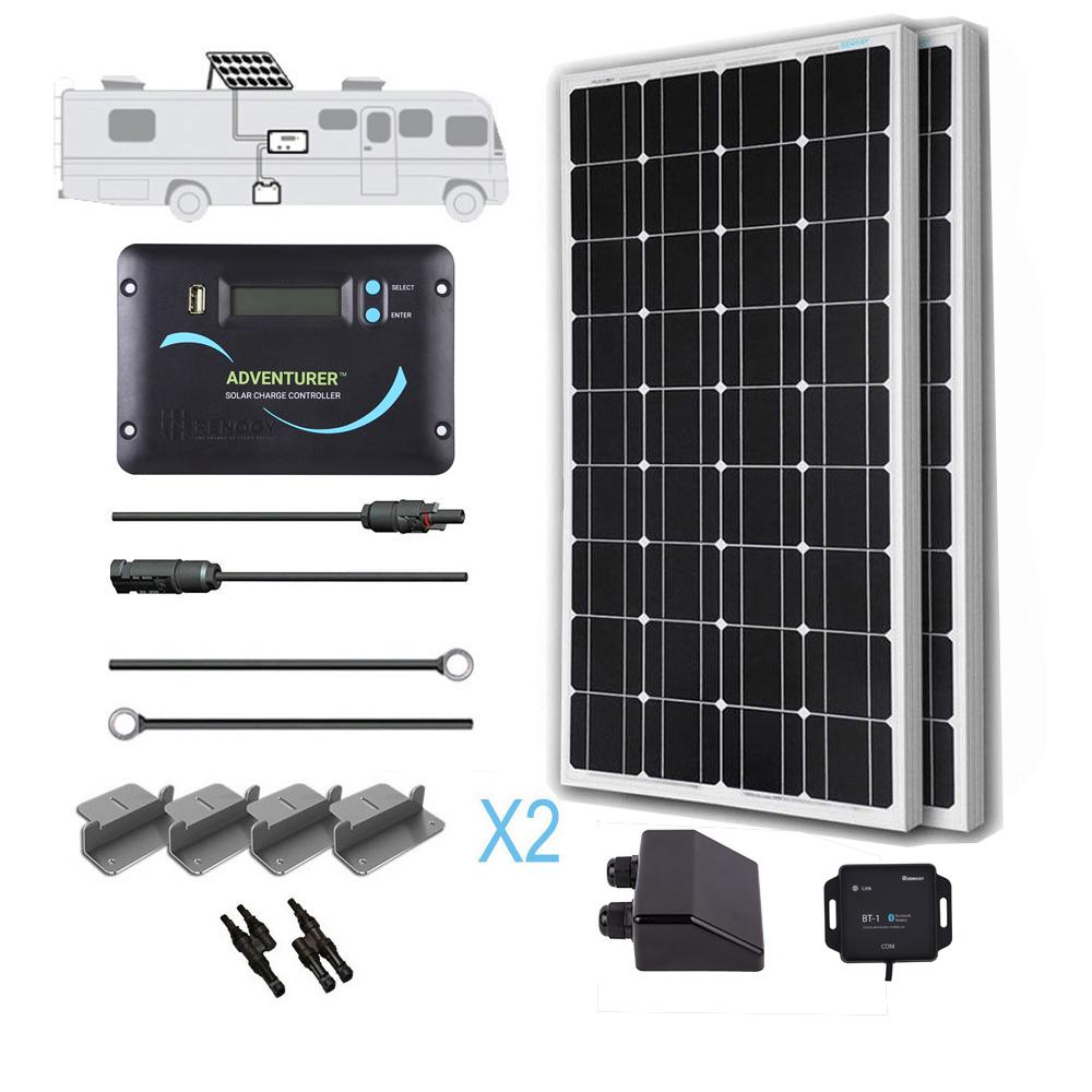 200-Watt 12-Volt Monocrystalline Off-Grid Solar System RV Kit