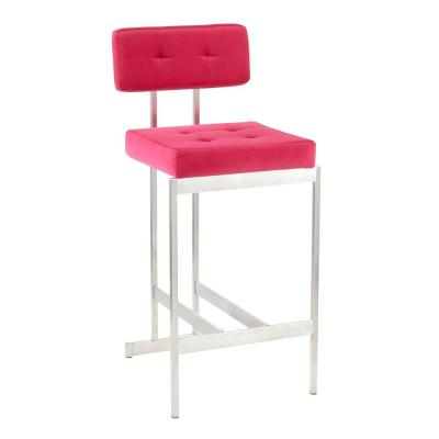 Milton 27 in. Counter Stool in Stainless Steel and Hot Pink Velvet