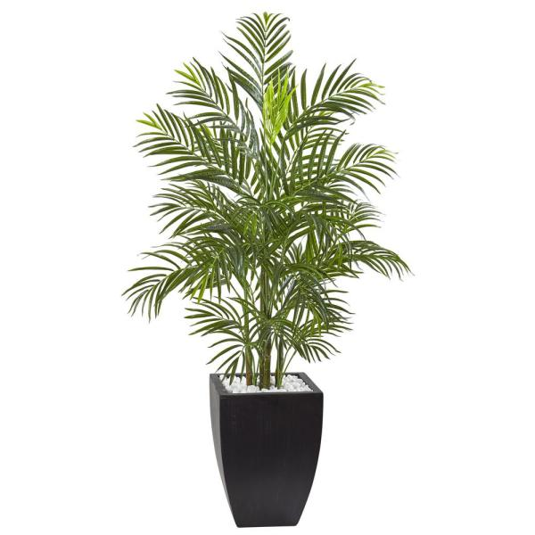 Nearly Natural 4.5 ft. Areca Palm Tree with Black Wash Planter