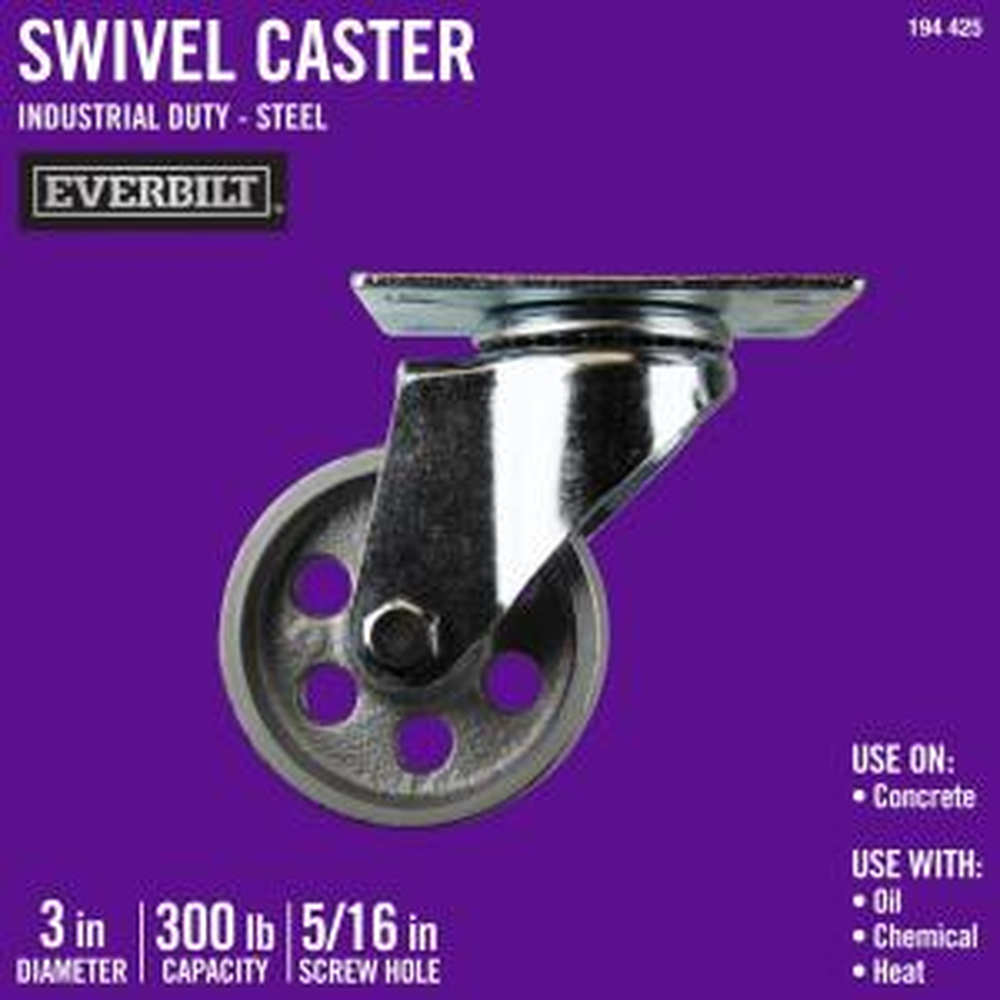 3 in. Steel Swivel Caster