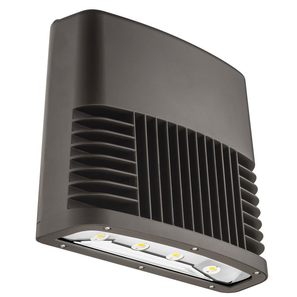 Dark Bronze 150-Watt 5000K Daylight White Light Outdoor LED Low Profile Wall Pack