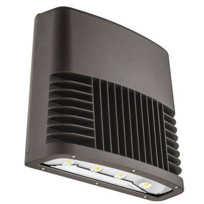 Dark Bronze 90-Watt 5000K Daylight White Light Outdoor LED Low Profile Wall Pack