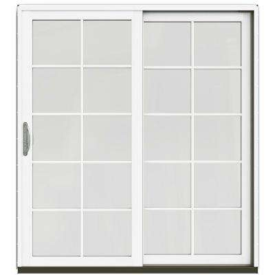 71-1/4 in. x 79-1/2 in. W-2500 Mesa Red Prehung Right-Hand Clad-Wood Sliding Patio Door with 10-Lite Grids